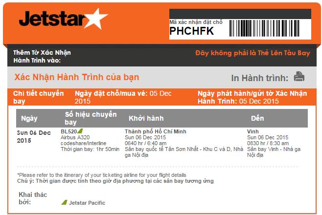 Kiểm tra mã code vé máy bay Jetstar
