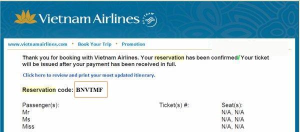 Mã code vé máy bay Vietnam Airlines