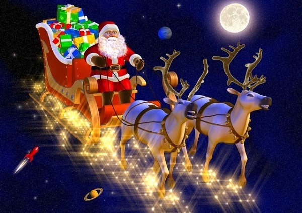 Santa Claus & reindeers wallpaper