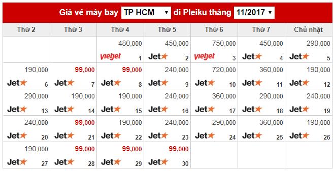 Vé máy bay giá rẻ đi Pleiku tháng 11