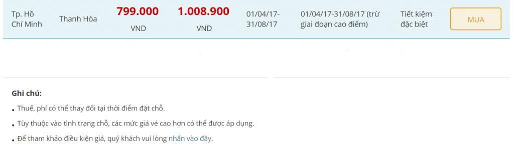 Vé máy bay đi Thanh Hóa Vietnam Airlines