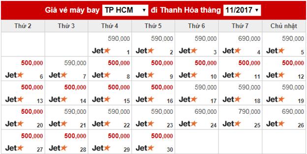 Chặng bay Sài Gòn – Thanh Hoá tháng 11