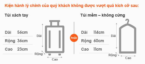 Quy định về kích thước hành lý xách tay Vietjet