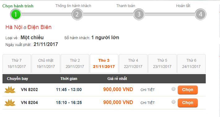 Giá vé máy bay đi Điện Biên Vietnam Airline