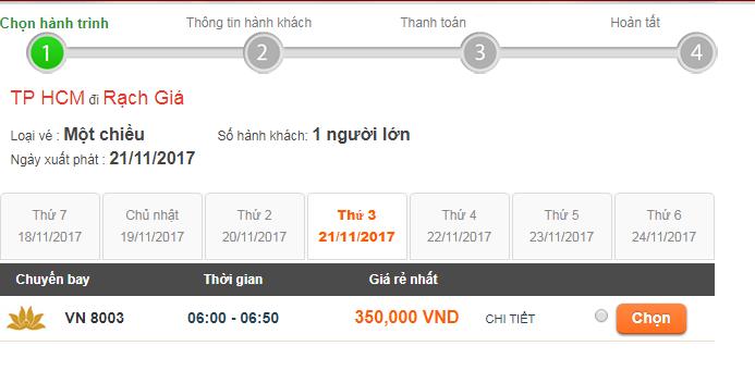 giá vé máy bay đi Rạch Giá