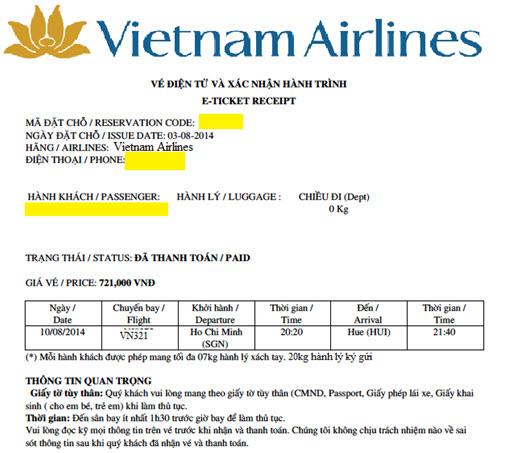 Hóa đơn vé máy bay Vietnam Airlines