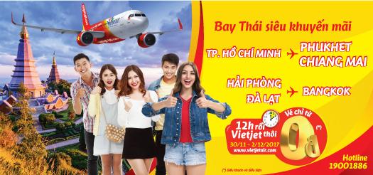 Vietjet khuyến mãi vé máy bay đi Thái Lan 0 đồng